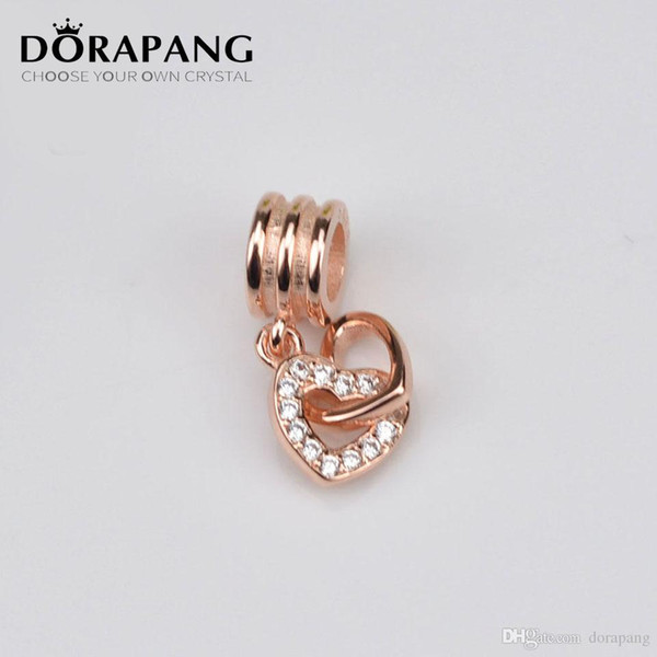 DORAPANG 100% 925 Sterling Silver and Rose Gold Plated Interlocking Love Charm Bead Fits European Jewelry Bracelets Necklaces Pendant MGJ010