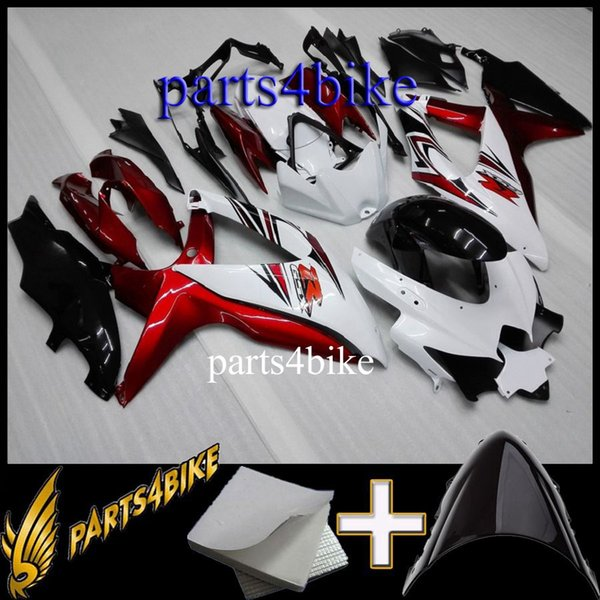 23colors+Gifts ABS Fairing for Suzuki GSXR600750 08 10 GSX-R600 750 2008 2010 08-10 red white black Motorcycle Aftermarket Plastic Kit
