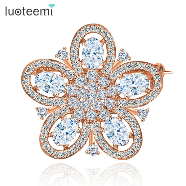 Fashion Wedding Bridal Brooch Flower European Style CZ White/Rose Gold Color Wholesale Jewelry New Arrival Hot Sale LUOTEEMI
