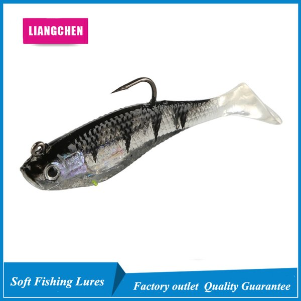 10pcs 8cm 9.5g T Tail Package Lead Fish Silicone Lures Soft Baits Fishing Hooks Fishhooks Artificial Pesca Tackle Accessories