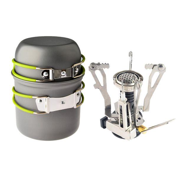 Açık Kamp Yürüyüş Sırt Çantası Piknik Tencere Pişirme Aracı Set Pot Pan + Piezo Ateşleme Teneke Kutu Soba Seyahat Tencere