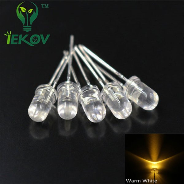Wholesale- 100 pcs LED 5mm round top Warm-white Urtal Bright Light Bulb led lamp Electronic 5MM Emitting Diodes High Quality