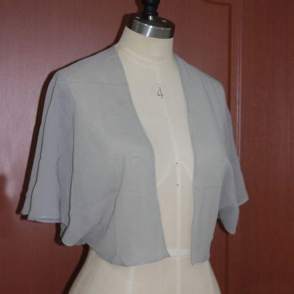 Elegant Cheap Custom Made Chiffon Bolero Jacket Wedding Evening Party Boleros Jackets Ruffles Sleeves Formal Wear