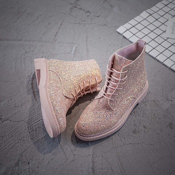 Women Ankle Boots Heels Female Shoes Woman Autumn Glitter Lace up Boots Casual Bling low cylinder Martin boots Korean