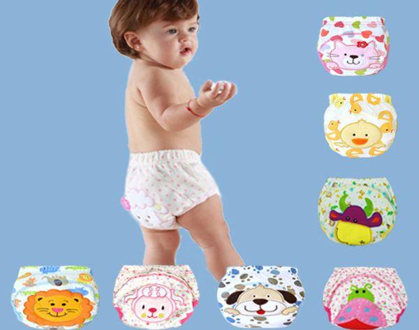 best selling 3 layers cartoon baby training pants waterproof diaper pant potty toddler panties newborn underwear Reusable training pants 12 designs F010