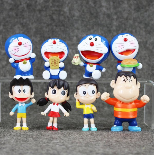 EMS 4.5-7cm 8pcs/set Anime Doraemon Nobita Shizuka Suneo PVC Action Figure Collectable Model Toy for kids gift free shipping