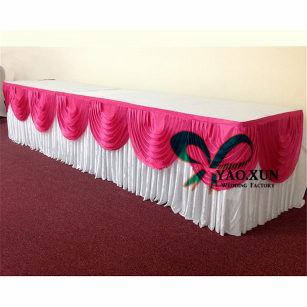 top popular Factory Price White Color Ice Silk Table Skirt With Swags For Wedding Decoration 76cm*3m 2020
