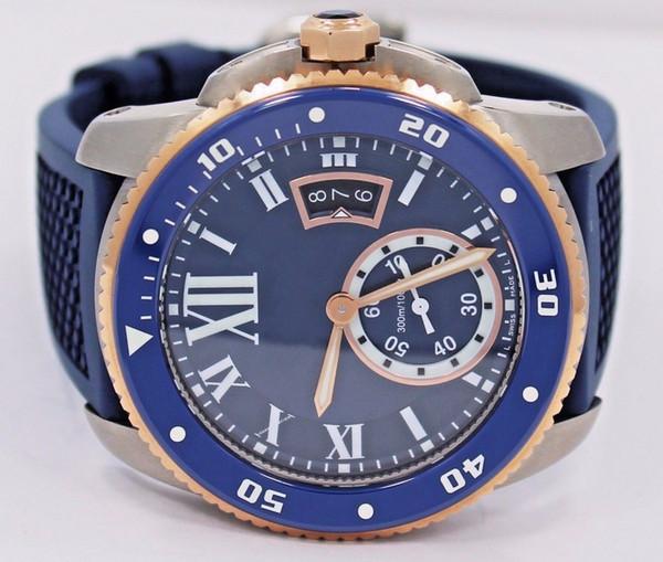 Top Quality Diver W2CA0009 quadrante blu e cinturino in gomma 42mm orologi da polso da uomo sportivo automatico orologio in oro rosa 18 carati