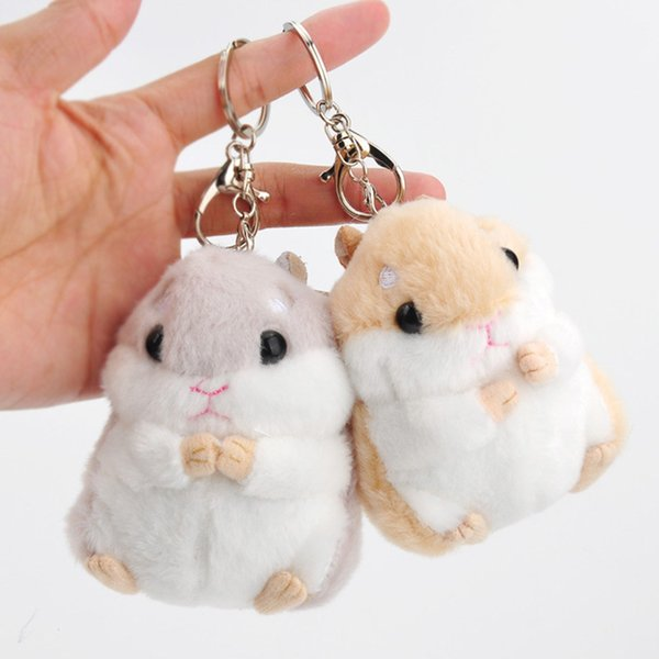 """Hot sale 2 Color 4"""" 10cm Hamster Keychain Plush Doll Stuffed Animals Toy Pendant For Child Best Gifts"""