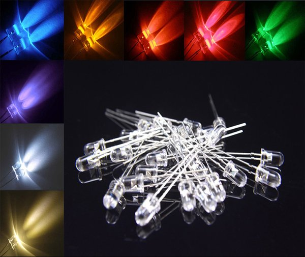 100pcs 5mm led diodes electronics components light 5mm led lights light-emitting diode white,warm white,red,blue,green,Yellow,Orange,pink,UV