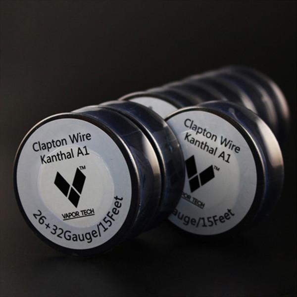 VAPOR TECH Clapton Wire Calentamiento rápido E cig Vapor Tech Clapton Vaporizador Bobina de alambre para tanque secundario 26G + 32G apto para atomizador sin DHL