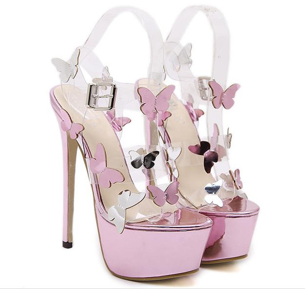 Adorable fantasy butterfly super high heels purple prom gown wedding dress shoes 16cm size 34 to 40