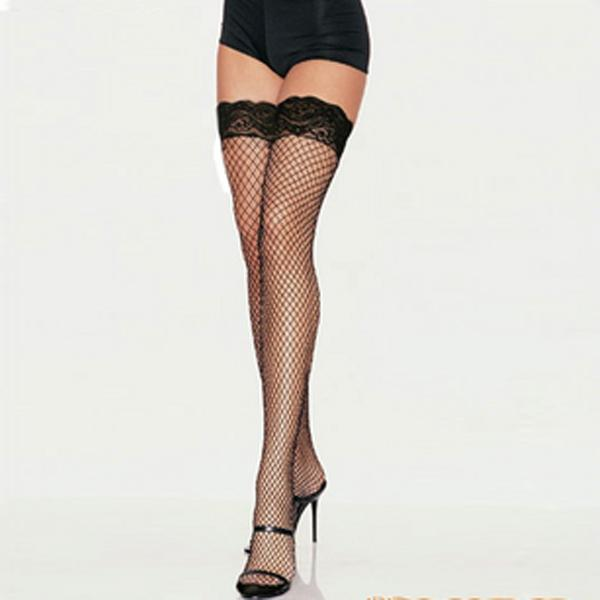 Wholesale- 2016 Lace Top Hollow Fishnet Thigh High Womens Sheer Body stocking Sexy Stockings