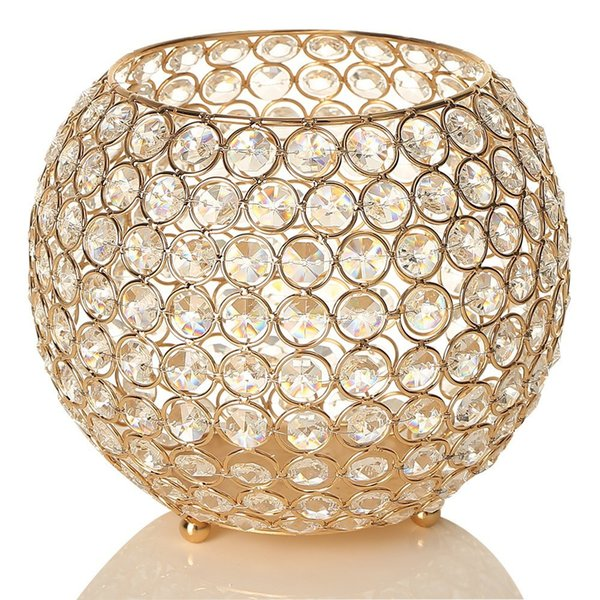 Gold Ball Crystal Candle Holders Floor Vases Table Centerpieces Candelabra For Wedding Candlelight Dinner Christams Home Decoration 20cm