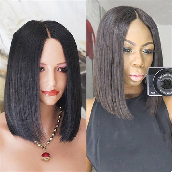 BOB Human Hair Wig 12inch 1B Brazilian Short Layer Style Middle Part Lace Front Wig Free Shipping