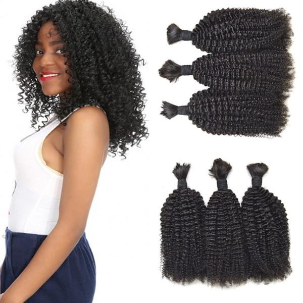 Malaysian human hair natural black color afro kinky curly braiding hair bulk for black women G-EASY