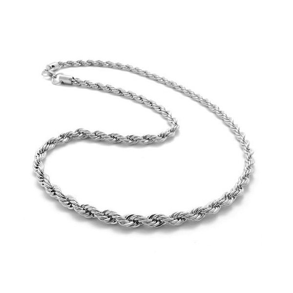 Wholesale Price 925 Sterling Silver Rope Chains Necklace Pendants Jewelry Cheap Price Chain For Men Lobster Clasps Size 3mm Free Shipping
