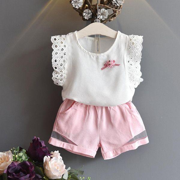 HUG ME 2017 Baby girl kids Summer Clothes 2piece set outfits Lace hollow crochet tops shirt vest blouse + Beige shorts pants Bowknot sets