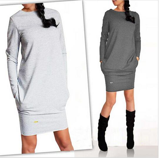 Toptan-2017 Sıcak Moda Sonbahar Kış Kadın Elbise Yeni Gündelik Giyim Iş Elbisesi Ofis Parti Elbiseler Uzun Kollu Artı Boyutu Vestidos