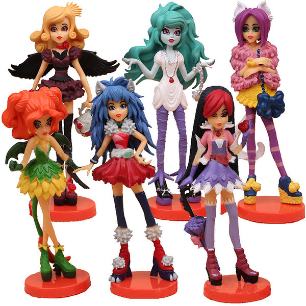 Monster High Figuras de acción Muñeca Anime PVC Juguetes Sexy Zombie Scare Master Model Decoration 6pcs Set de regalo