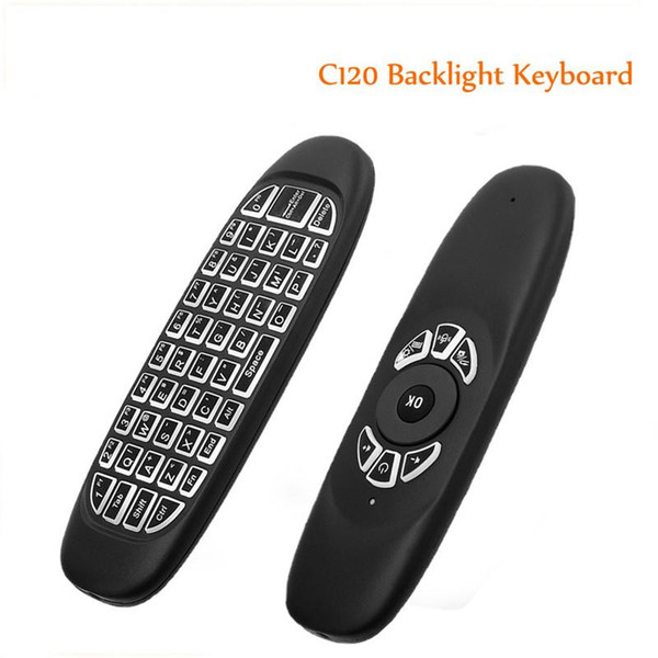 Genuine English C120 Backlight Air Mouse Rechargeable Fly Mouse Keyboard for Smart TV BOX Computer Mini PC
