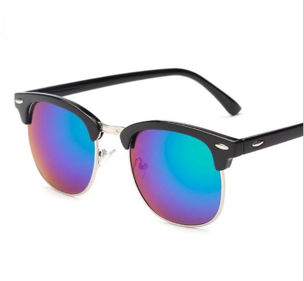 Toptan-J47 Yarım Metal Yüksek Kaliteli Güneş Gözlüğü Erkek Kadın Marka Tasarımcı Gözlük Ayna Güneş Gözlükleri Moda Gafas Oculos De Sol UV400