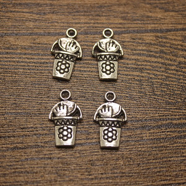 50pcs-- 12x21mm Gardening Pail W/ Tools Charms Antique Silver Bucket Charms Pendants
