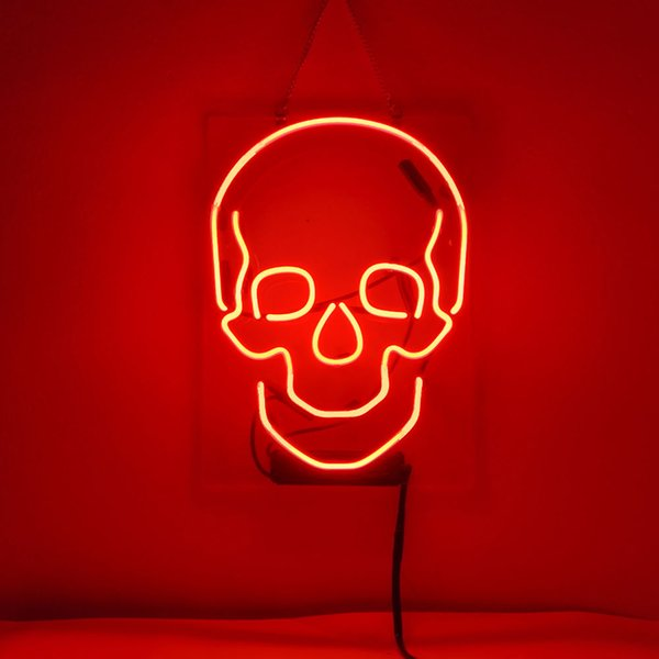 """17""""x14"""" Haunted House SKULL Cranial Clear Backplane Real Neon Light Sign Display Beer Bar Pub Club Artwork Wall Decoration"""