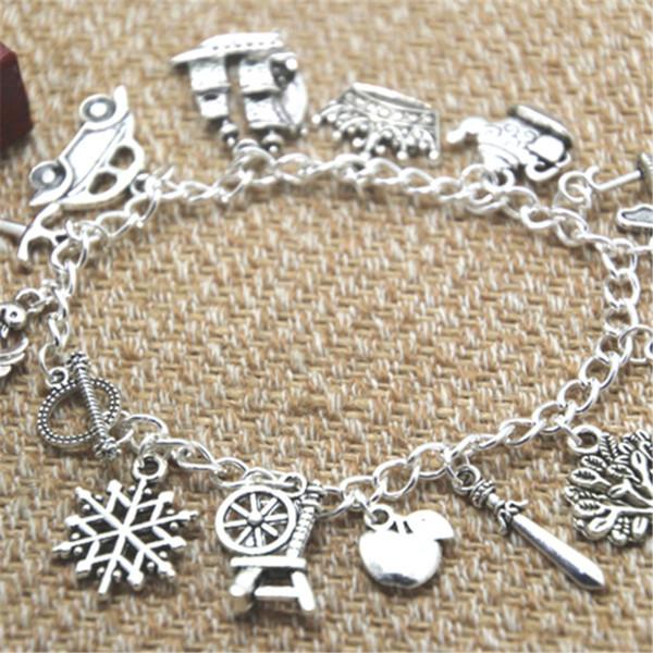12pcs Once Upon A Time inspired bracelet Crown Swan Teapot Jiminy Cricket's umbrella Fairy charm bracelet
