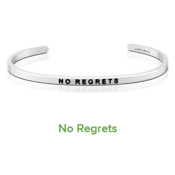 Hot sell NO REGRETS Cuff Mantra Bracelet Bangle Stainless Steel Engraved Positive Inspirational Quote Bangle 10PCS