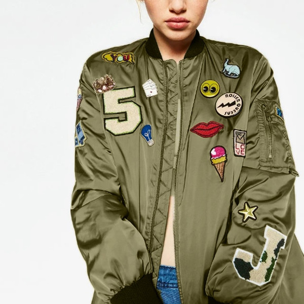 Brodé Gros 96 Armée Mode 2017 Vert Cartton Du Blouson Acheter Femmes Rue Vincant De Manteau Motifjacket Veste Lettre Occasionnel60 Punk Style yv7gI6mYbf