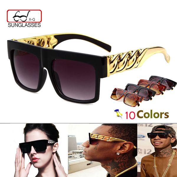 Atacado-Moda Medusa Mens Retro óculos de sol Vintage mulheres marca Designer de plástico de ouro Cadeia Oversized Shades Sunglasses oculos zonnebril