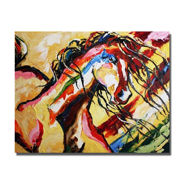 Hand painted chinese famous horse running oil painting pictures top quality canvas art pictures for living room