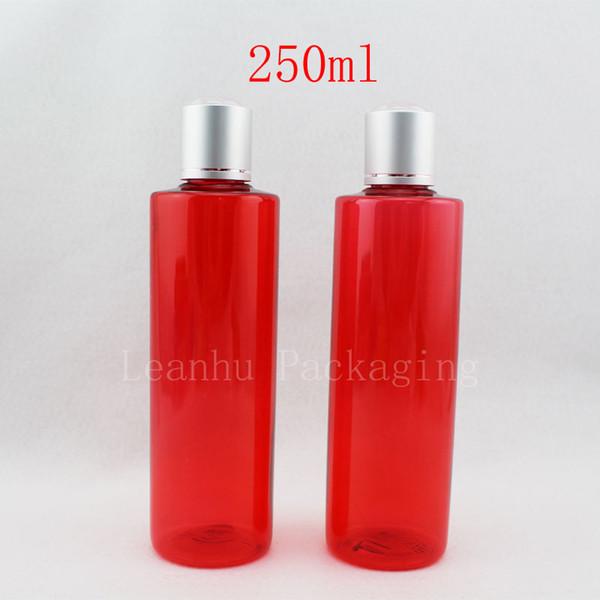 250ml x 20 botellas plásticas rojas vacías del cuidado de la piel tapas de rosca envase del ANIMAL DOMÉSTICO del champú 250cc, botellas de empaquetado cosméticas del jabón líquido