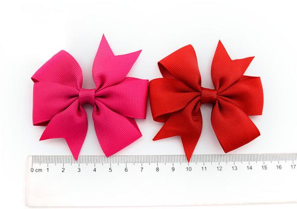 DHL 500pcs Bowknot hairpin 3 inch Barrettes grosgrain ribbon hair bows 20 colors children hair accessories baby hairbows girl hair clip