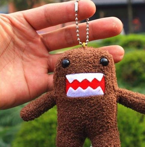 "Hot sale Cute Domo Kun keychain Plush Toy doll 3.5"" Wholesale baby kids phone keychain Free shipping"