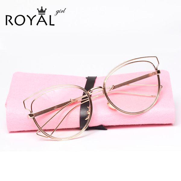 Al por mayor-ROYAL GIRL alta calidad de anteojos marcos mujeres metal gafas ópticas cat eye spectacle frames ss128