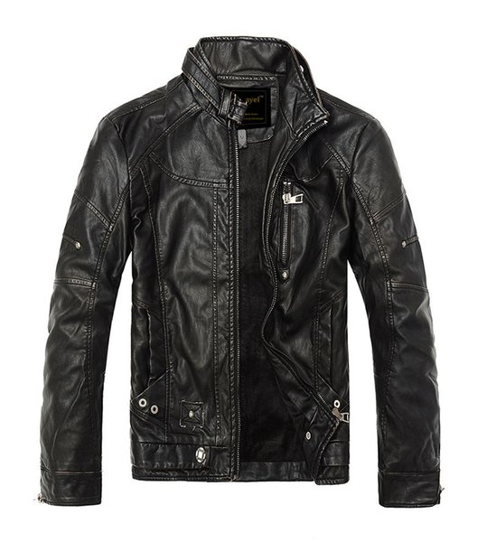 Autumn Moto Vintage Mens Jackets Coat Motorcycle PU Male Leather Jacket Men Casual Stand Collar Slim Fit lether Brown