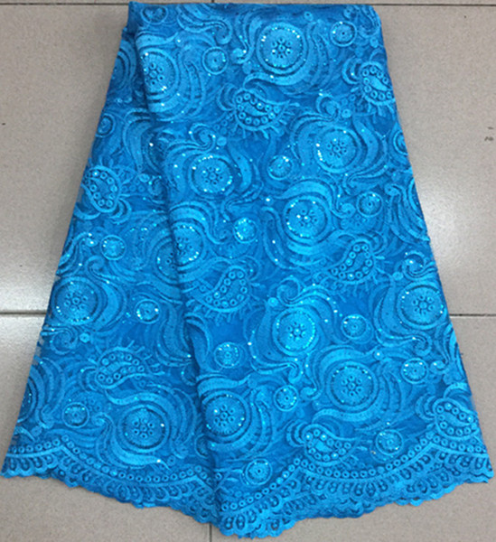 best selling Good looking royal blue french net lace fabric with flower pattern african mesh lace for party dressing BN39-7,5yards pc