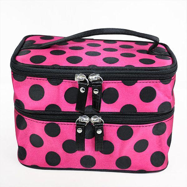 Wholesale- Retro Dot Beauty Case Makeup Large Cosmetic Set Toiletry Bag Womens