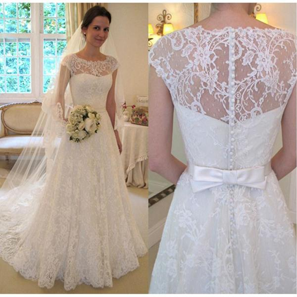 2017 Elegant Full Lace A Line Wedding Dresses With Capped Short Sleeve Bow Sash Long Bridal Gowns Garden Custom Made EN11257