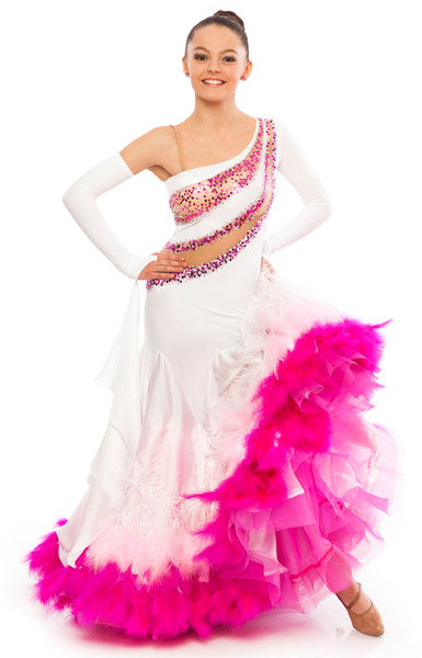 One Shoulder Long Sleeves Feather Crystal Beaded Sheath Beautiful Custom Made Sexy Show Dresses Pageant Dresses