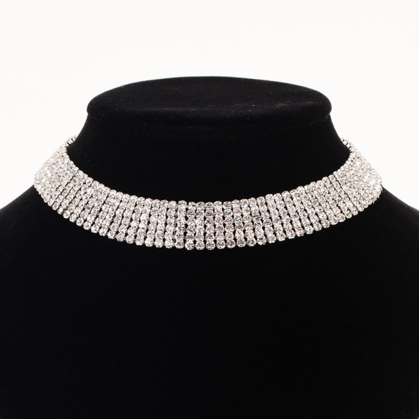 Accessories wholes Fashion Wedding Jewelry Sparkling Rhinestone Crystal Choker Necklace Set Charm Silver Plated Bridal Jewelry New Year gift