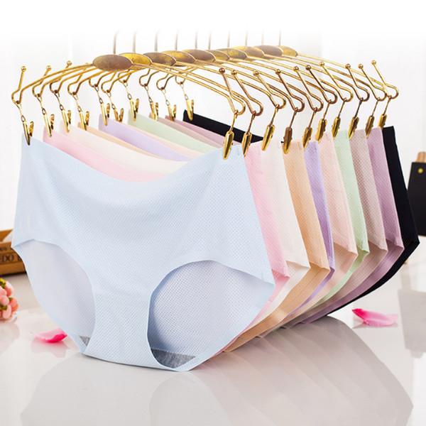 Nouvelles dames Silk Ice Seamless Culottes Slips Slips Nylon Temptation Traceless Respirant Lingerie Sous-Vêtements De Nuit Culotte M M