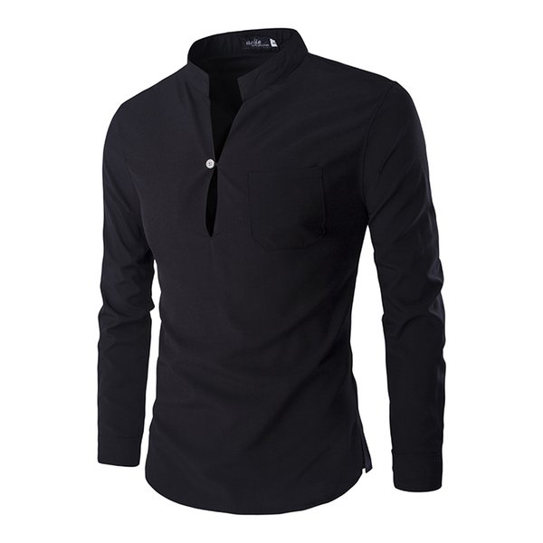 Wholesale- Camicie casual da uomo 2016 nuovo collo alla coreana design unico Slim Fit Camicie Chemise Homme Camisa Masculina M-XXL ZC124