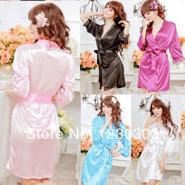 All'ingrosso-Hot Sexy raso di pizzo nero Kimono intimo Sleepwear Robe Sexy Night Gown Accappatoi pigiami abito da sera governante