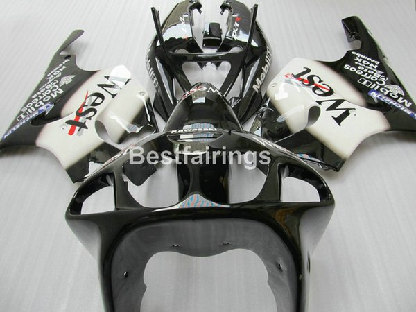 Kit de carenado de plástico de alta calidad y precio más bajo para carenados blancos negros Kawasaki Ninja ZX7R 1996-2003 ZX7R 96-03 TY66
