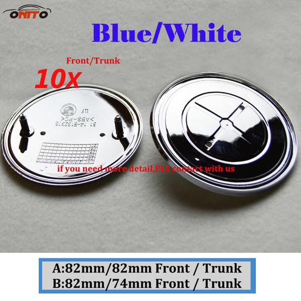 10Pcs 82MM 74MM blue white Auto Head Hood Logo Cap Rear Boot Badge Tail Trunk Label Car Front Bonnet Emblem Cover