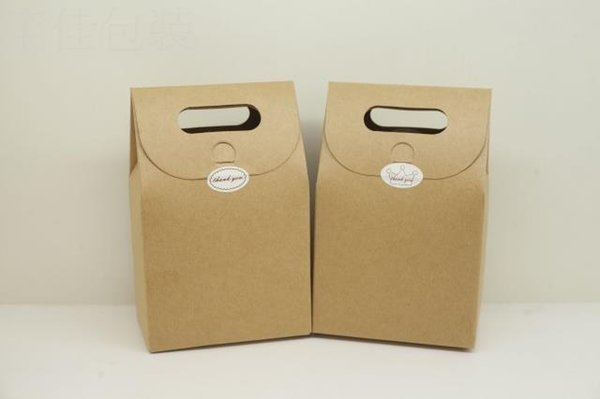 kraft paper bag/box with handle for tea/tea/cookie/candy gift packing bag/box 2 color for choice free shipping by DHL mini order 50pcs