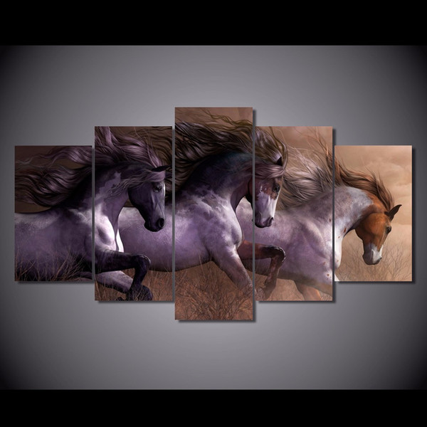 5 Pcs/Set Framed HD Printed Animal horse Painting Canvas Print room decor print poster picture canvas Free shipping/NY-5864